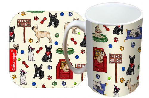 Selina-Jayne French Bulldog Limited Edition Designer Mug and Coaster Set